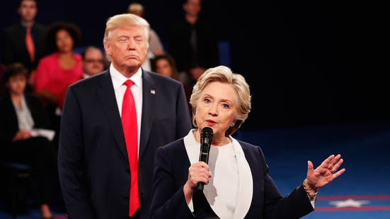 Image result for Trump and Clinton second debate creepy