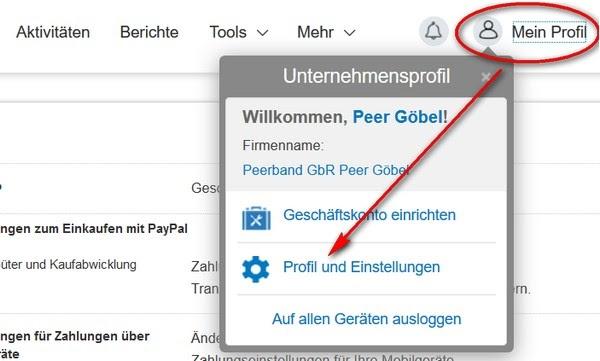 Paypal Konto ändern