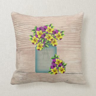 Blue Mason Jar Pansies Pillow
