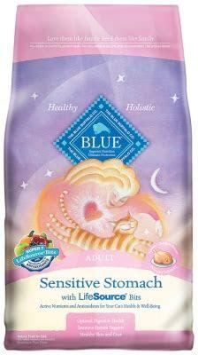 blue buffalo dry cat food sensitive stomach adult recipe