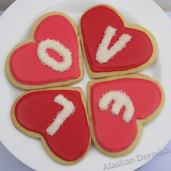 Love Heart Cookies, Pink and Red Valentines Day - 4 piece