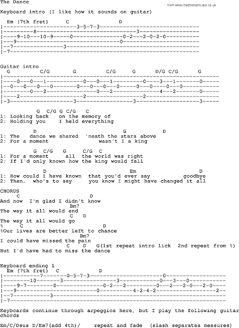 The Dance Garth Brooks Lyrics And Chords