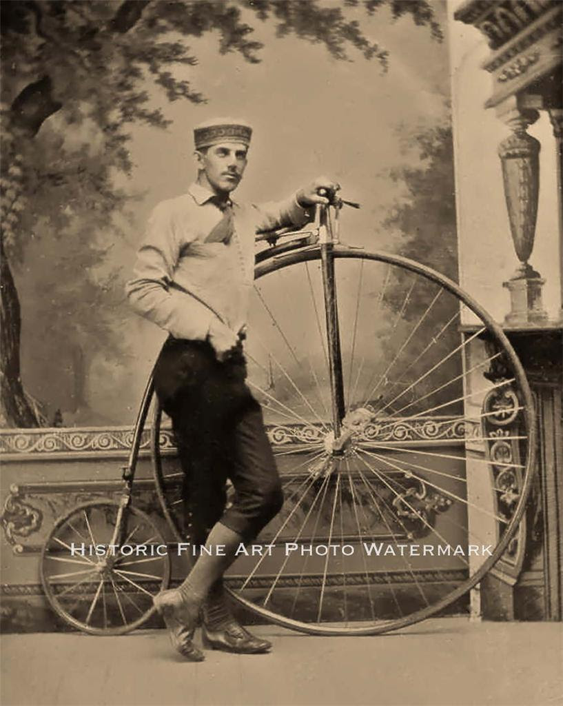 PENNY FARTHING BICYCLE VINTAGE PHOTO HIGH WHEEL CYCLIST ...