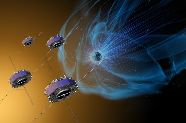 The four Magnetospheric Multiscale, or MMS, spacecraft (shown here in an artist's concept) have now made more than 4,000 trips through the boundaries of Earth's magnetic field, gathering observations of our dynamic space environment. Credits: NASA/Goddard/Conceptual Image Lab