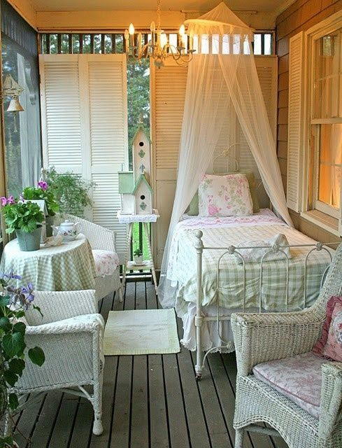 My fave idea for a sleeping porch....just needs a little bigger porch and a little bigger bed!