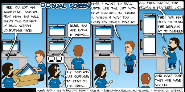 [fedora webcomic: dual screen]