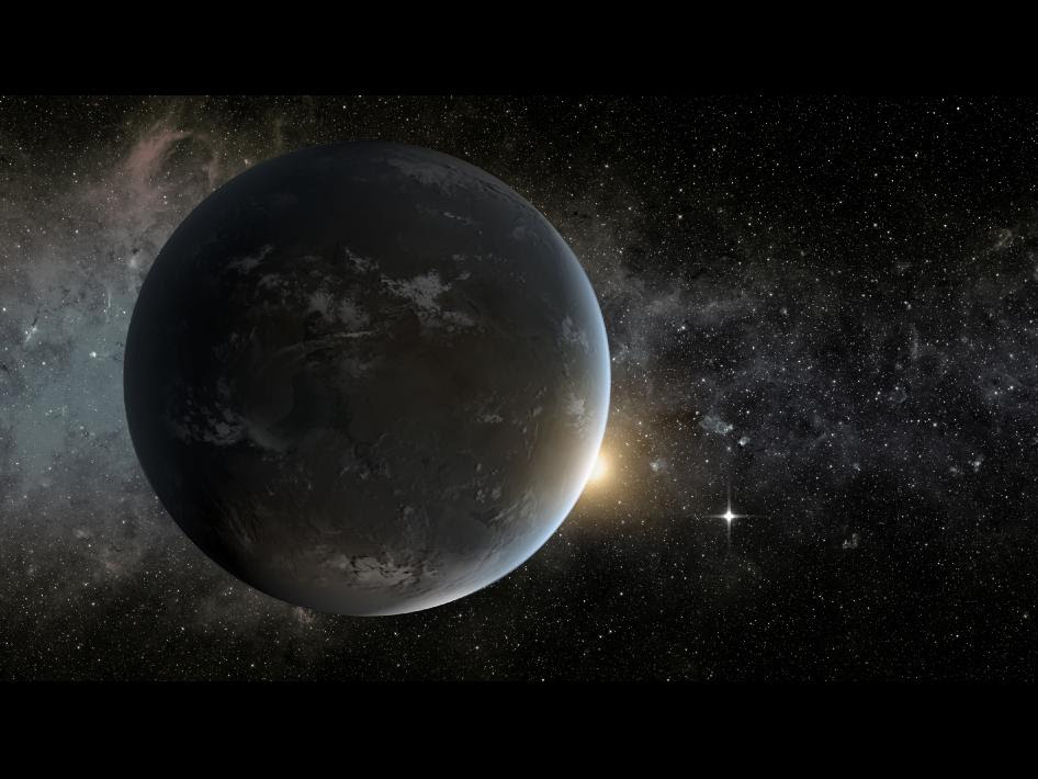 An artist's concept of the Kepler-62 system showing rocky Kepler-62f in the foreground, the star, Kepler-62a just rising over the edge of the planet and, seen as a small, bright light in the sky, the planet Kepler-62e.
