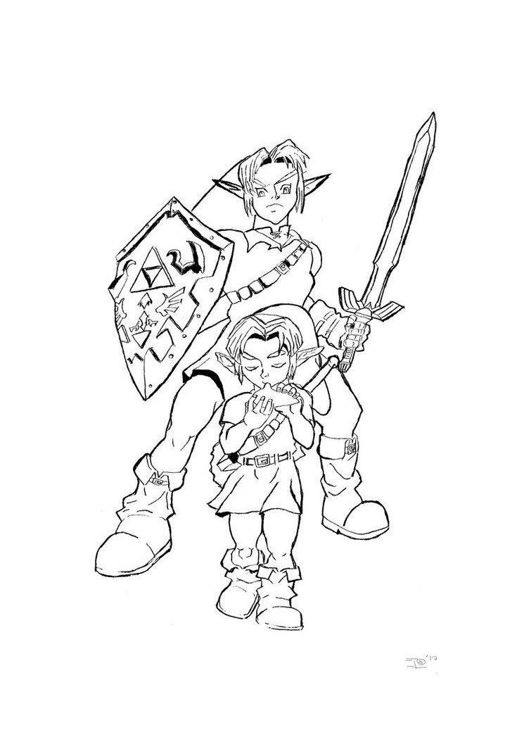 Legend Of Zelda Link Coloring Pages At Getdrawingscom Free For
