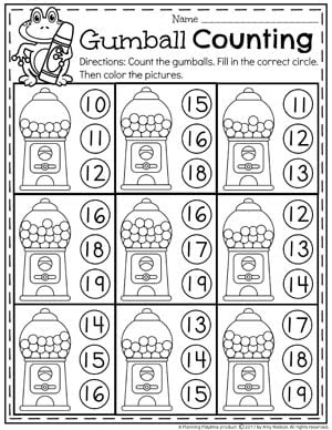 Number Practice Worksheets for Kindergarten Gumball Counting