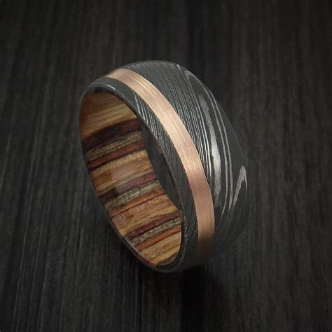 damascus steel   rose gold ring  hazelnut