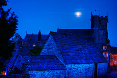 Village Of Corfe Castle At Night