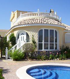 Taking the plunge: A fully furnished three-bedroom villa Mazarrón on the Costa Blanca was up for £191,115 last year - but prices are falling fast