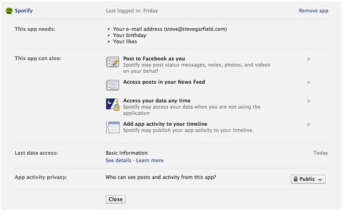 Facebook Spotify App Settings by stevegarfield