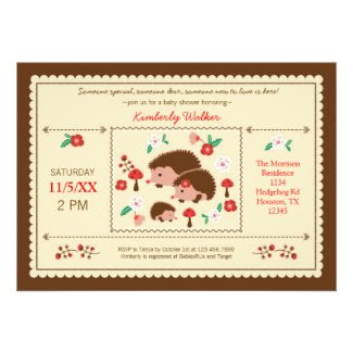Hedgehog Family Unisex Baby Shower Invitation