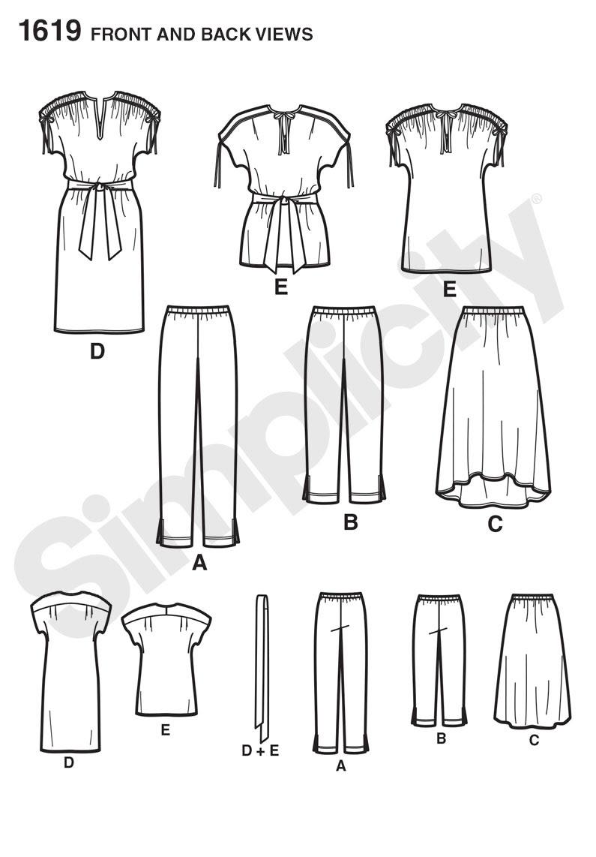 Simplicity 1619 Misses' Sportswear Line Drawing