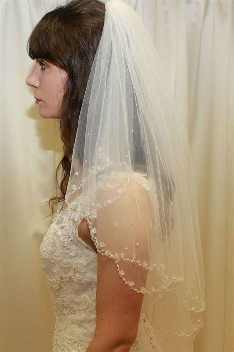 Beaded Edge Two Tier Tulle Wedding Veil   Copplestones Bridal