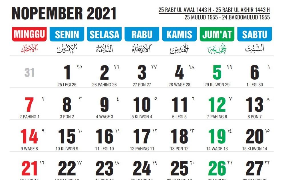 Kalender November 2021 Lengkap Dengan Tanggal Merah ...