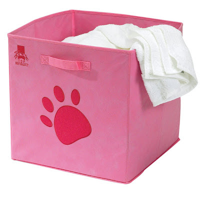 pink collapsible crate with paw print