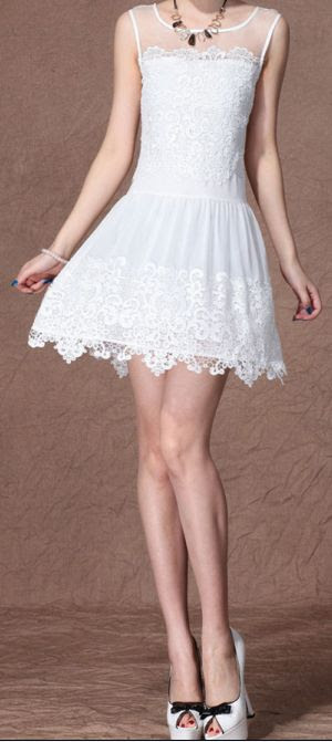 Voile Splicing | Lace Dress.  dresslily.com
