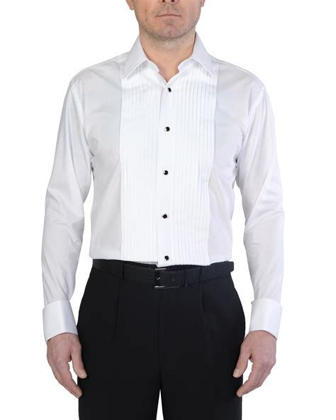 Men's White Stitch Pleat Evening Dress Shirt   Double TWO