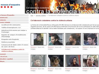 Detalle de la web creada por los mossos para identificar 'violentos'.
