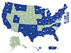 Map of USA - Click here to open National Asthma Control Program State Profiles.