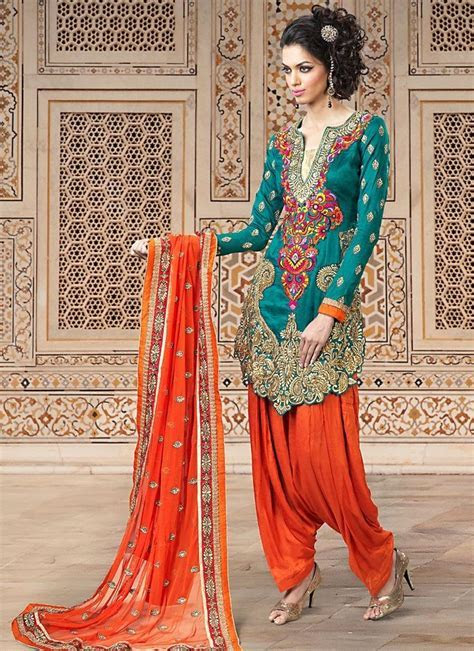 Geenish Blue Salwar Kameez   Orange and Teal   Latest