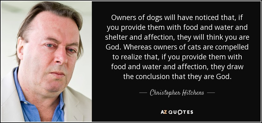 Owners of dogs will have noticed that, if you provide them with food and water and shelter and affection, they will think you are God. Whereas owners of cats are compelled to realize that, if you provide them with food and water and affection, they draw the conclusion that they are God. - Christopher Hitchens