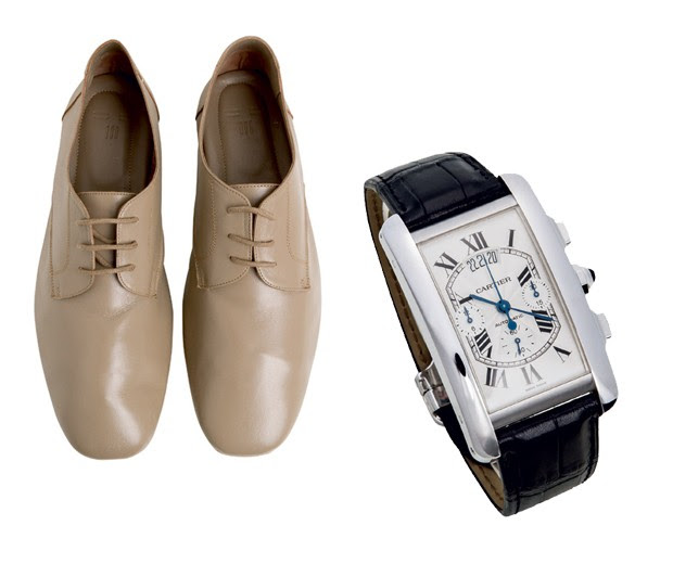 Sapatos Sept.is R$ 493 Relógio Cartier Tank de Cartier R$ 121 mil  (Foto: Carlos Bessa)