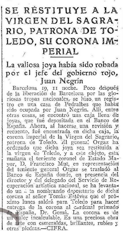 Noticia de la entrega de la Corona de la Virgen del Sagrario. Abc 20 agosto 1939