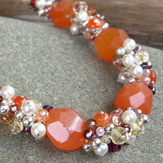 orange cluster necklacee