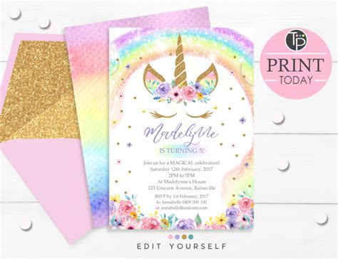 Rainbow Unicorn Invitation, Editable template, Edit at home