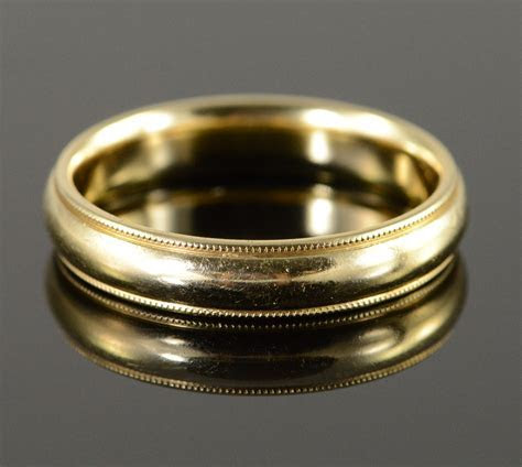 14K 8.2g 5mm Milgrain Wedding Band Men's Yellow Gold Ring