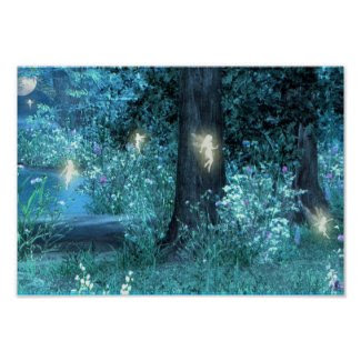 Night Magic fairy flight Poster print