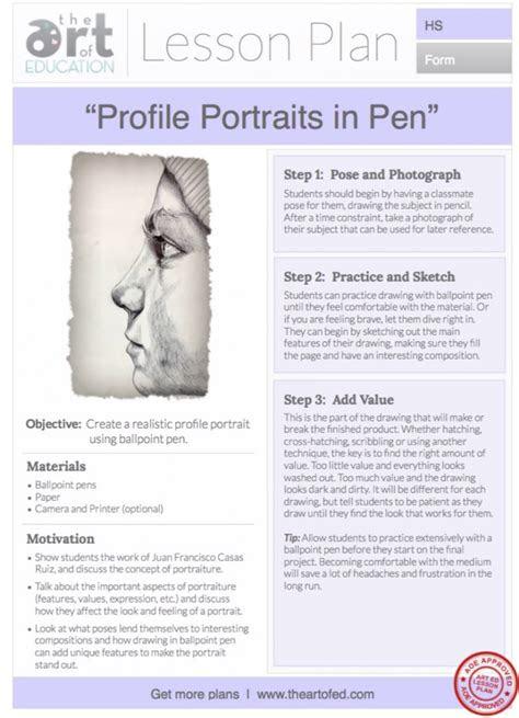 profile portraits    lesson plan