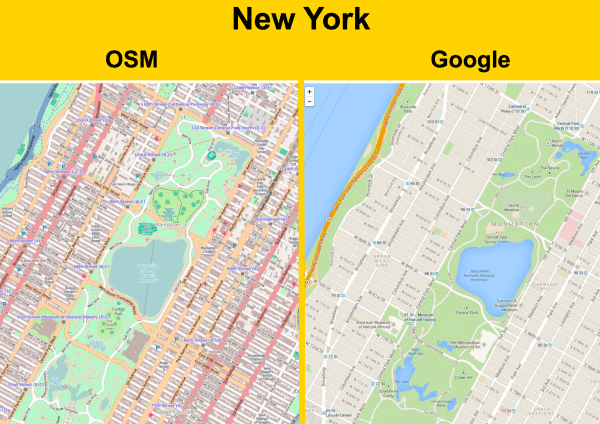 OSM vs. Google Maps