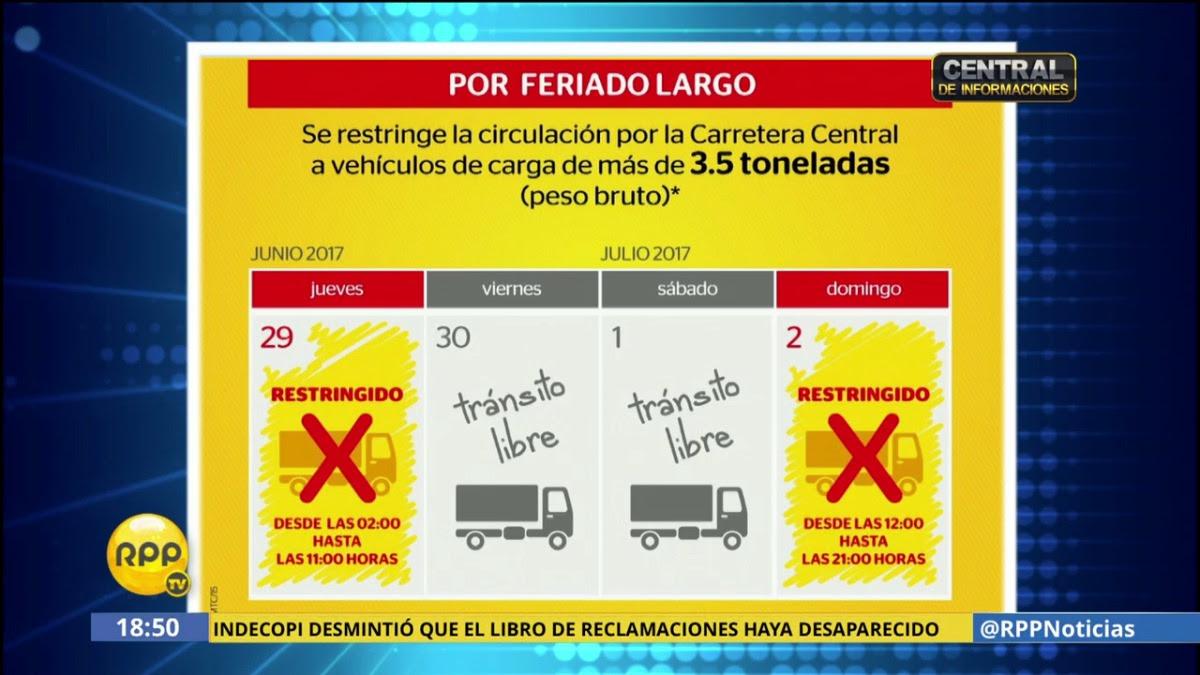 El ministro de Transportes y Comunicaciones, Bruno Giuffra, informó que se restringuirá el paso de vehículos de carga pesada el jueves 29 de junio y domingo 2 de julio en la Carretera Central.