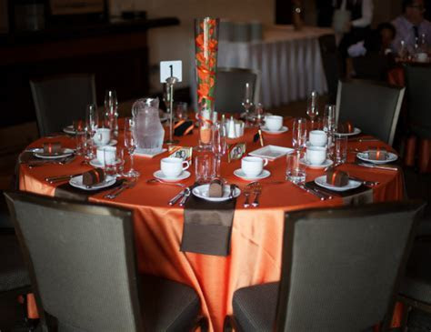 Burnt Orange And Brown Reception Head Table Decorations