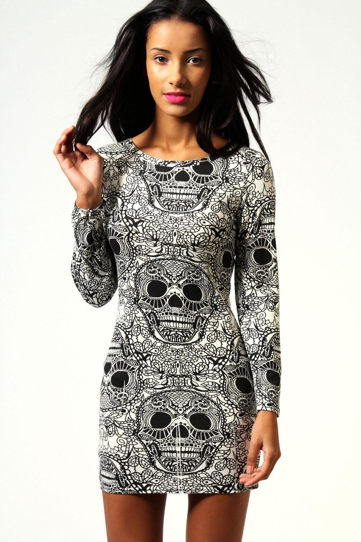 Print long sleeve bodycon dress