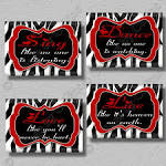 RED Zebra Print Dance Sing Live Love Quote Art by collagebycollins