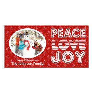 Peace Love Joy Winter Happy Holidays Photo Card