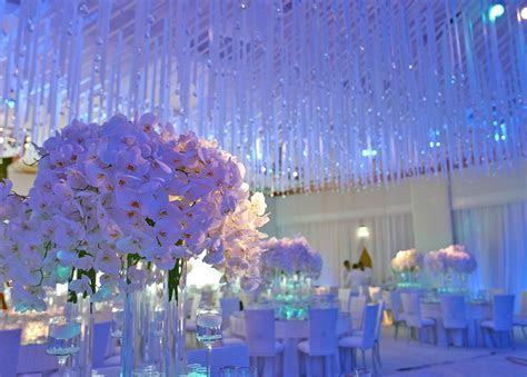 Crystal ceiling decor   Floral Designs   Ballroom wedding