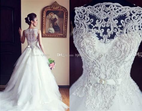 Simple Lace Wedding Dresses 2014 A Line Wedding Dress With