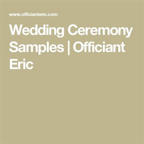 17 Best ideas about Wedding Ceremony Samples on Pinterest