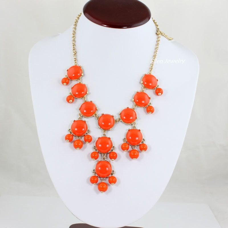 NEW Orange Bubble Bib Necklace,Small Bubble Necklace, Handmade Bubble Jewelry Bib Necklace Statement Necklace(SM0520-20MM Size)