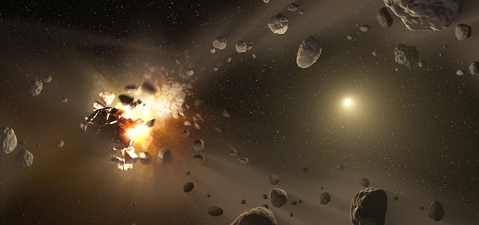 This artist's conception shows how families of asteroids are created