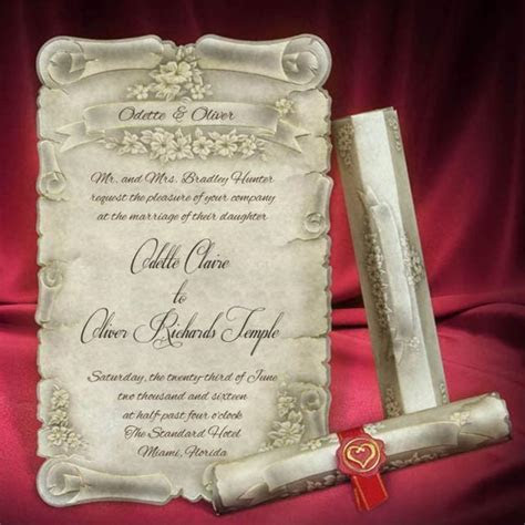 Scroll Wedding Invitation Card Personalized Beautiful