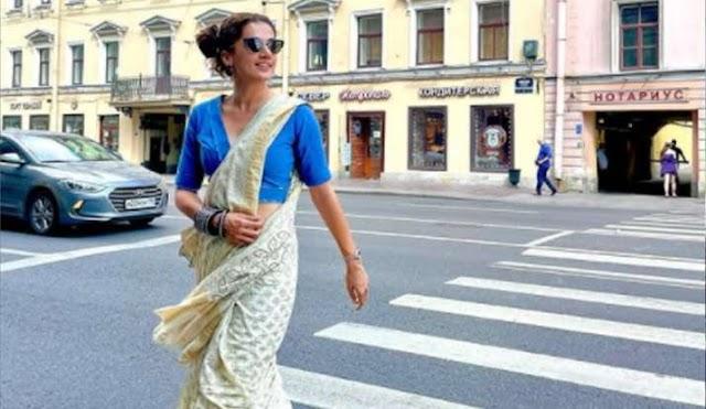 तापसी पन्नू सेंट पीटर्सबर्ग की सड़कों पर साड़ी पहनकर निकलीं, फैस कर रहे हैं जमकर तारीफ