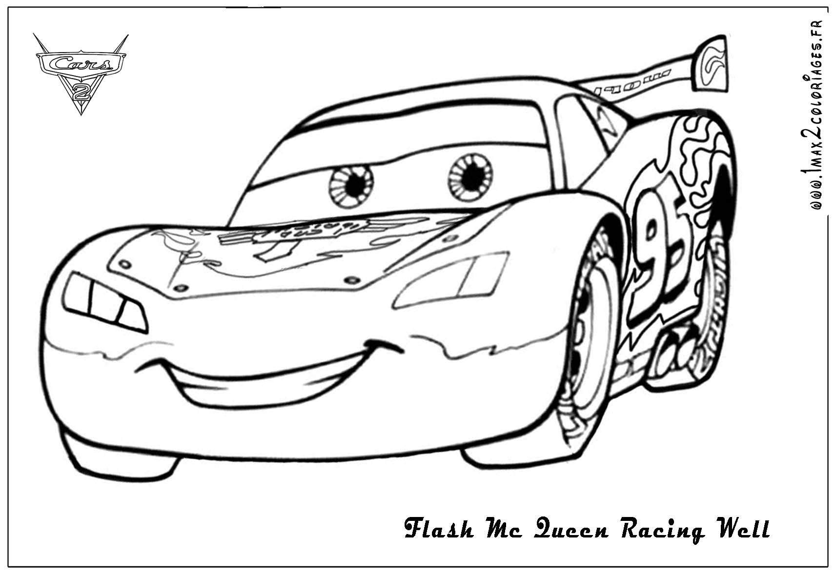 Coloriages cars 2  Flash mc Queen Racing Cars 2