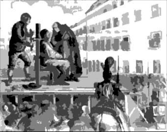 Ejecución por garrote vil en una plaza pública.